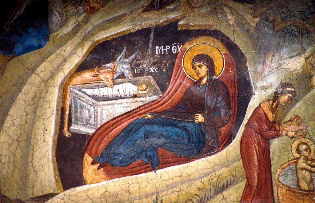 Рождество Христово Фреска Дечаны