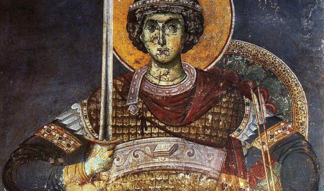 Фреска.Св.вмч.Георгий Победоносец.XIV век.Византия.Карея.Протат